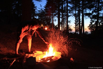 Stoking the fire at Marion Mountain Campground